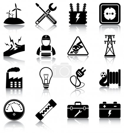 Illustration for 16 electricity related icons. - Royalty Free Image