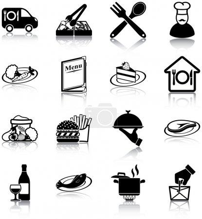 Illustration pour Restaurant associés icônes. - image libre de droit