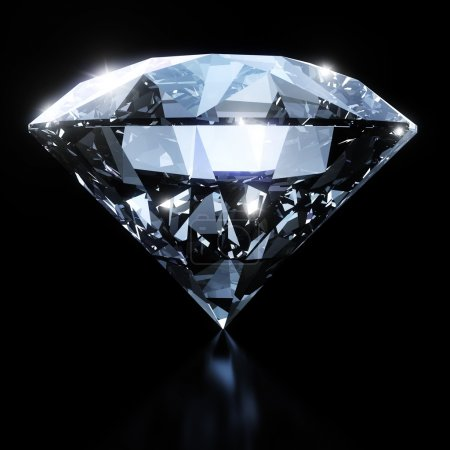 Shiny diamond isolated on black background with cl...
