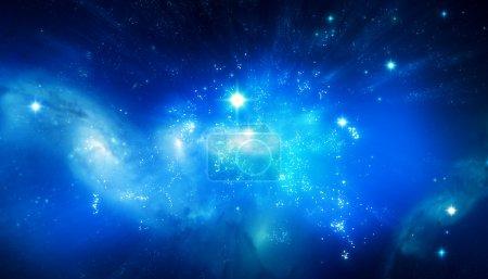 Photo pour Beau fond de galaxie bleu - image libre de droit