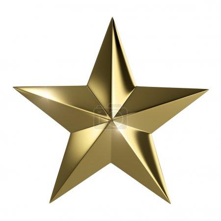 Foto de Estrella dorada aislada con camino de recorte - Imagen libre de derechos