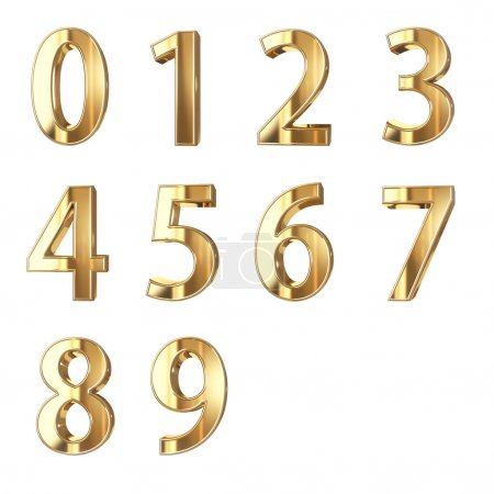 Photo for Golden numbers isolated with clippign path - Royalty Free Image