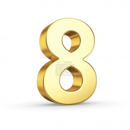 Photo for 3D golden number 8 - isolated with clipping path - Royalty Free Image