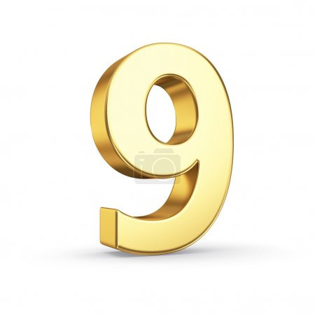 Photo for 3D golden number 9 - isolated with clipping path - Royalty Free Image