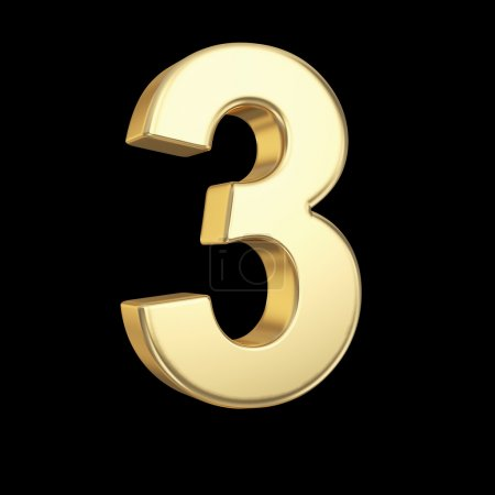 Photo for Number three - golden number isolated on black with clipping path - Royalty Free Image