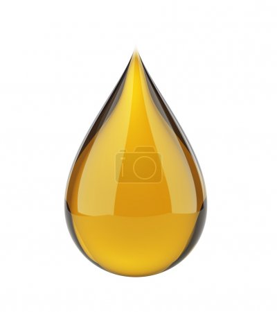 Photo for Oil drop on white isolated with clipping pat - Royalty Free Image