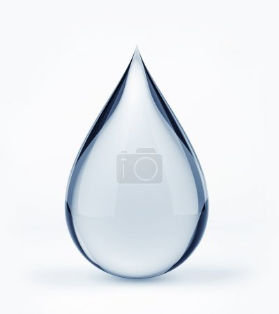 Photo for 3D water drop on white isolated with clipping path - Royalty Free Image