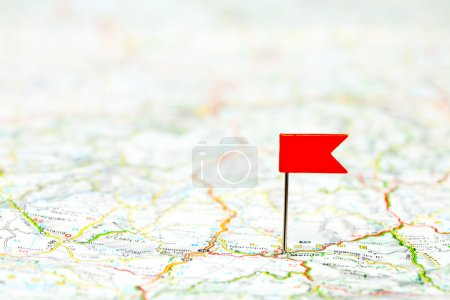 Photo for Red color flag pin on map, shallow focus - Royalty Free Image