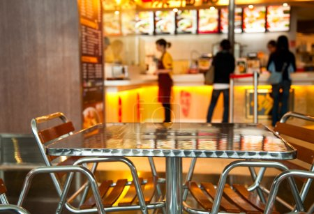 Photo for Seats and table at Chinese fast food resturant, shallow focus - Royalty Free Image