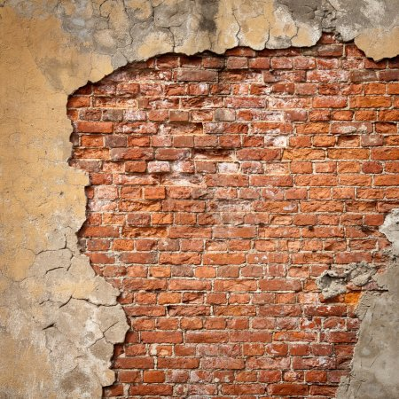 Photo for Old weathered brick wall fragment - Royalty Free Image