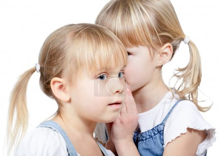 Photo for Portrait of little girl telling a secret to her friend over a white background - Royalty Free Image