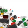 Electronic components on white background...