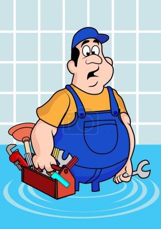 Illustration pour Illustration drôle d'un plombier surpris. Cartoon style. Calque, facile à éditer . - image libre de droit
