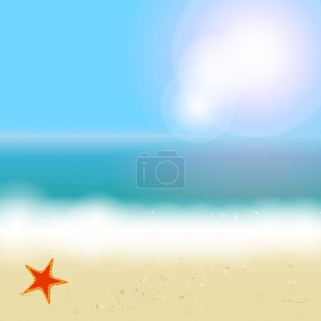 Beautiful summer background with beach, sea, sun and palm tree V