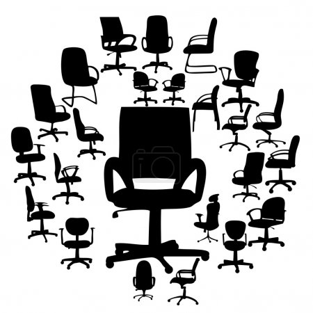 Office chairs silhouettes vector illustration