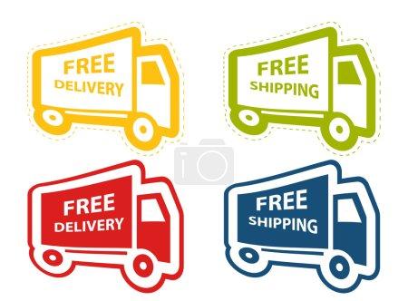 Illustration pour Livraison gratuite, ensemble d'icône de livraison. illustration vectorielle - image libre de droit