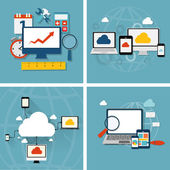 Cloud Computing Concept on Different Electronic Devices Vector