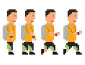 Vector illustration - pixel art style drawing of person in yellow t-shirt and shorts running or walking sprite isolated 8 bit on white background