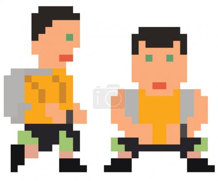 vector illustration - pixel art style drawing of bended person i
