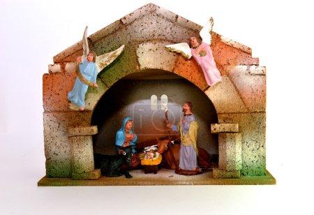 Photo pour Naissance de Jésus avec les figurines de Noël - image libre de droit