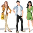 Group of fashion cartoon young . Teenagers....