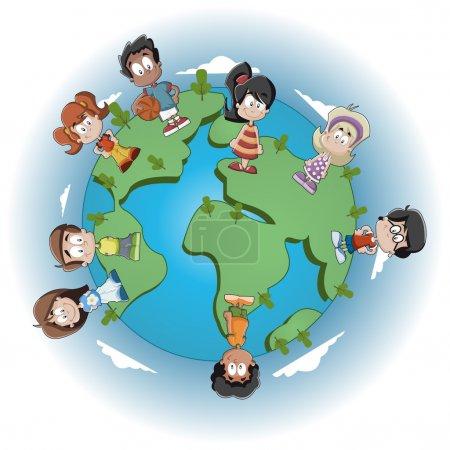 Illustration pour Mignon heureux bande dessinée enfants sur la planète terre - image libre de droit