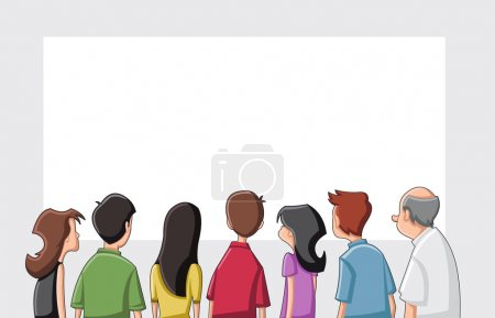 Illustration pour Groupe dessin animé regardant / écran blanc fixe - image libre de droit