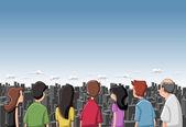 Group cartoon looking