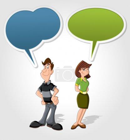 Illustration pour Dessin animé homme et femme parlant avec ballon de parole - image libre de droit