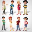 Group of cartoon . Teenagers....