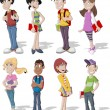 Group of cartoon teenager students...