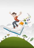 Cartoon boy flying on big book