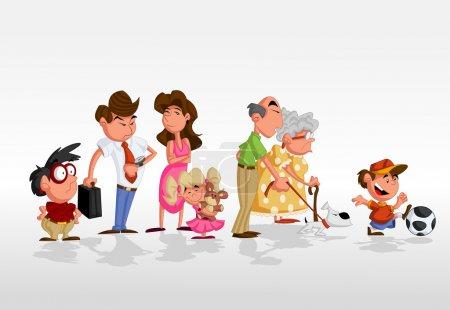 Illustration pour Coloré mignon heureux dessin animé famille - image libre de droit