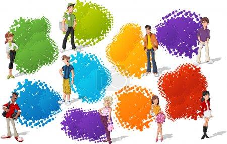 Photo pour Modèle coloré pour brochure publicitaire avec cool dessin animé jeune. Adolescents . - image libre de droit