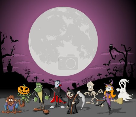 Illustration for Halloween background with full moon over a cemetery with funny cartoon classic monster characters - Royalty Free Image