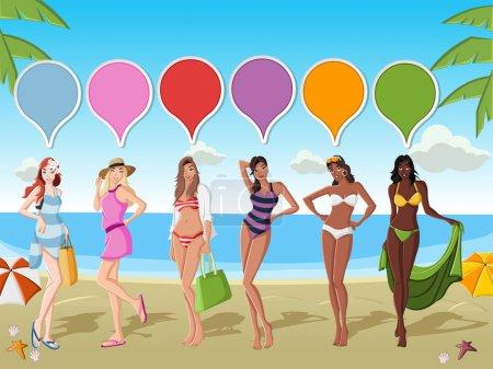Beautiful cartoon girls on tropical beach