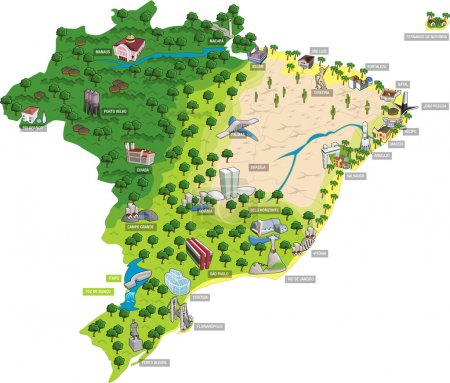 Map of Brazil with all capitals