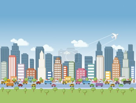 Photo for Colorful cartoon city landscape - Royalty Free Image