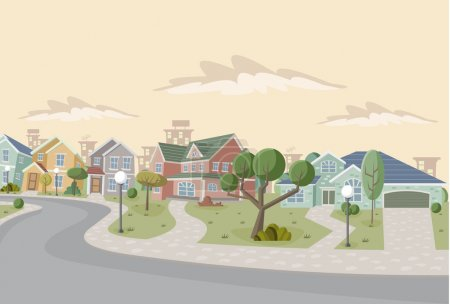 Photo for Colorful retro suburb neighborhood. Cartoon city. - Royalty Free Image