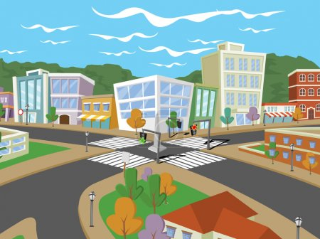 Photo for Colorful cartoon city with houses and buildings - Royalty Free Image