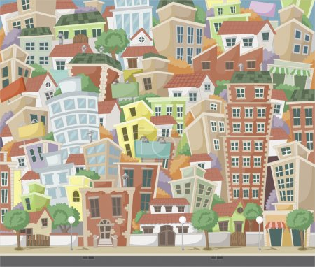 Illustration for Colorful cartoon city with houses and buildings - Royalty Free Image