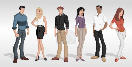 Illustration for Group cartoon business . Teenagers. - Royalty Free Image