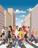 Cartoon business crossing a downtown street