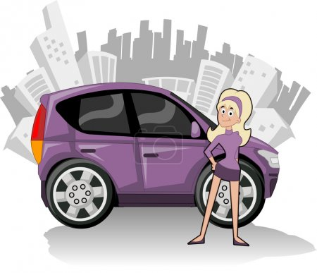 Woman with purple compact car