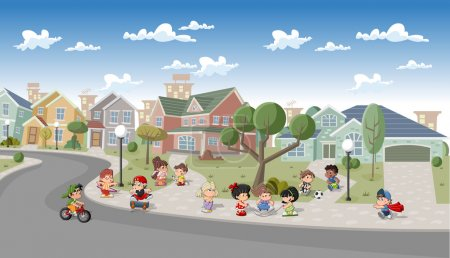 Illustration for Cute happy cartoon kids playing in the street of a retro suburb neighborhood. Cartoon city. - Royalty Free Image