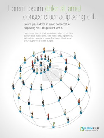 Illustration for Connected over earth globe. Social network. - Royalty Free Image