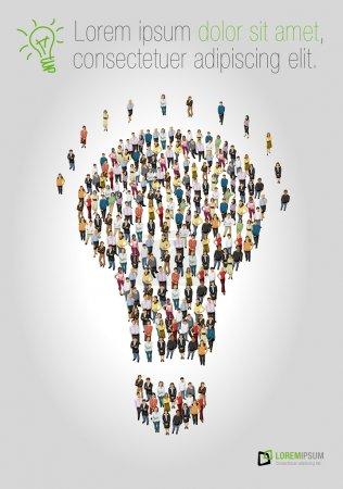 Illustration pour Groupe d'entreprise sous forme d'ampoule idée - image libre de droit