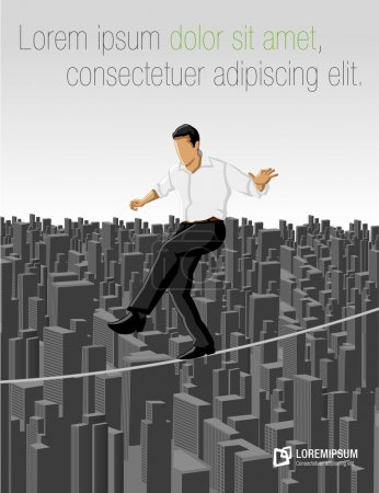 Illustration for Business man over city on a high tightrope - Royalty Free Image
