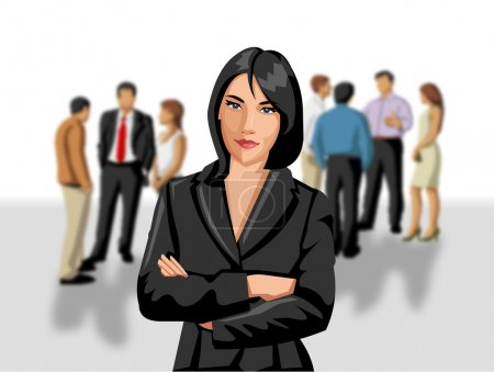Illustration for Business woman in front of - Royalty Free Image