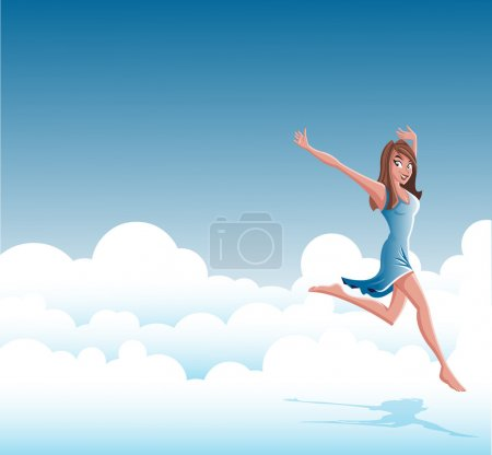 Illustration for Cartoon young happy woman wearing blue jumping on clouds - Royalty Free Image